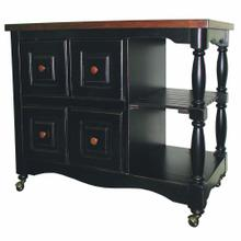 See Details - Regal Kitchen Cart - Antique Black with Cherry Accents