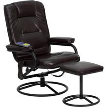 See Details - Massaging Multi-Position Recliner and Ottoman with Metal Bases in Brown LeatherSoft