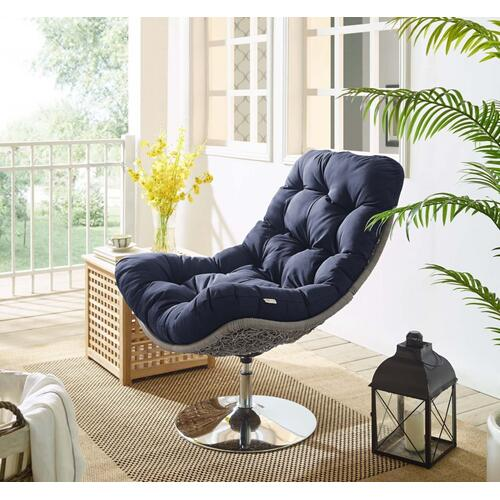 Brighton Wicker Rattan Outdoor Patio Swivel Lounge Chair in Light Gray Navy