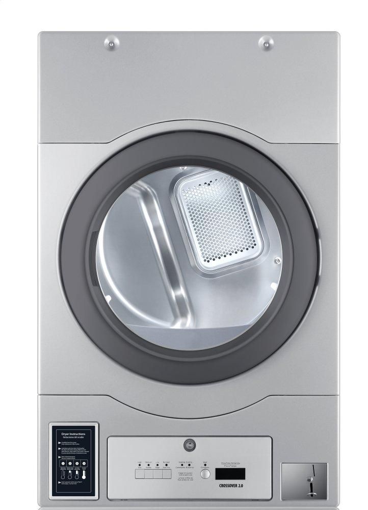 """Crossover 2.0Crossover True Commercial Laundry - 7.0 Cf Heavy Duty Bottom Control Electric Dryer, Coin Option Included/card Ready, Silver, 27"""" (Stacked Application)"""
