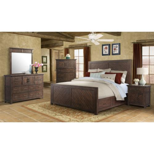 American Wholesale Furniture - 6 PC Bedroom - 3PC Queen Bed, Dresser, Mirror, Nightstand