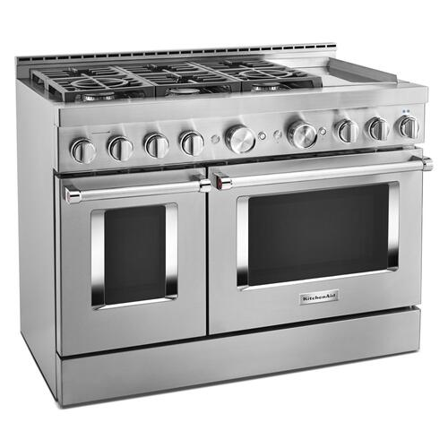 KitchenAid® 48'' Smart Commercial-Style Gas Range with Griddle - Stainless Steel