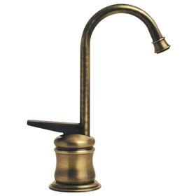 Point of Use instant hot water faucet with a gooseneck spout and self-closing handle.