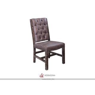 See Details - Gray Faux leather Chair with tufted back