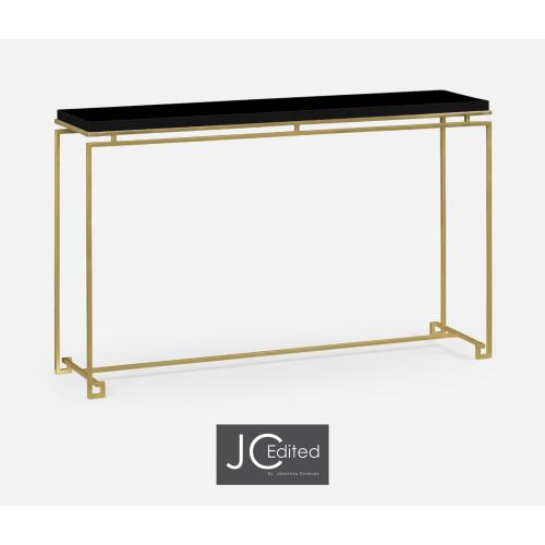 Gilded Iron Large Console Table with Smoky Black Top