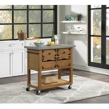 Austin Kitchen Island With Cement Grey Top and Natural Finish Drawers
