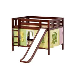 Low Bunk Bed with Straight Ladder and Slide : Full : Chestnut : Slat