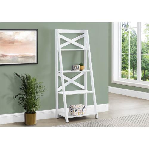 """BOOKCASE - 60""""H / WHITE LADDER WITH 4 SHELVES"""