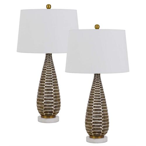 150W 3 way Mankato metal table lamp and marble base with hardback fabric shade. Priced and sold as pairs