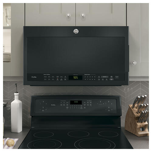 GE Profile 2.1 Cu. Ft. SpaceMaker Over the Range Microwave Oven Black Slate- PVM2188DSMC
