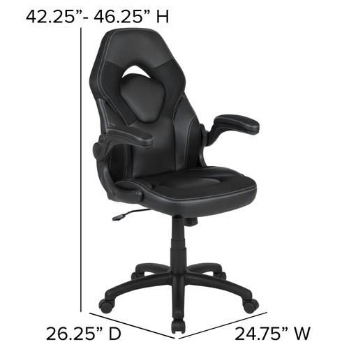Gallery - Black Gaming Desk and Black Racing Chair Set with Cup Holder, Headphone Hook & 2 Wire Management Holes