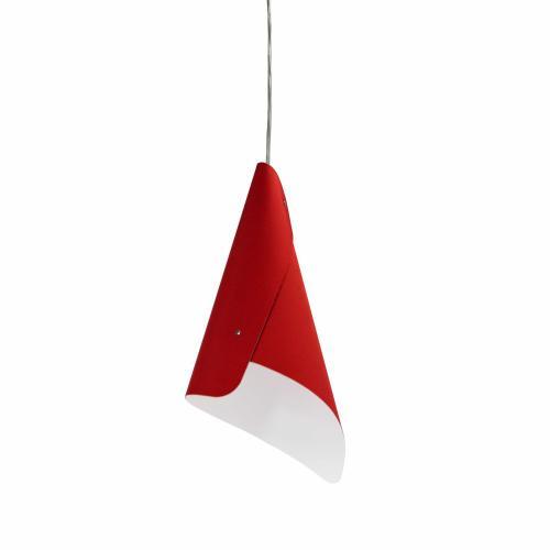 1lt Cone Pendant Jtones Red, Polished Chrome