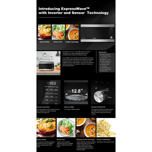 """Galanz - Galanz 1.3 Cu Ft ExpressWave"""" Sensor Cooking Microwave Oven with an easy-to-use Express Cooking Knob, Inverter in Stainless Steel"""