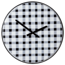 Black & White Enamel Gingham Pattern Wall Clock