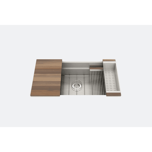 "SmartStation® 005453 - undermount stainless steel Kitchen sink , 36"" × 18 1/8"" × 10"" (Walnut)"