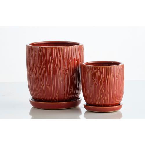Alfresco Home - Rust Carved Petit Pots w/attchd saucer set 2/min4 sets
