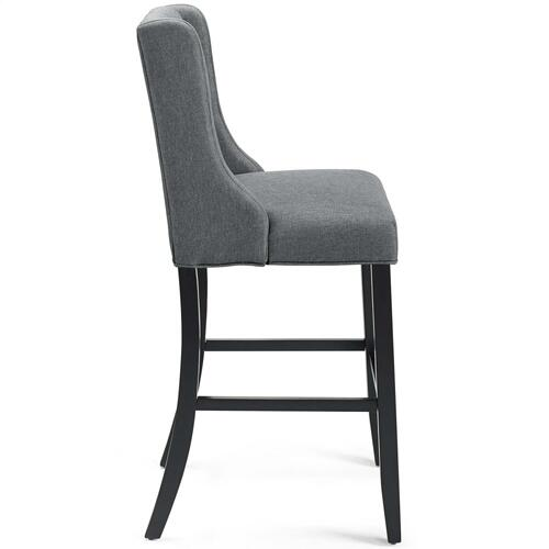 Baronet Tufted Button Upholstered Fabric Bar Stool in Gray