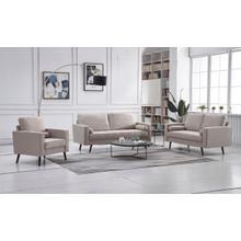 See Details - 8117 3PC BEIGE Linen Stationary Living Room SET