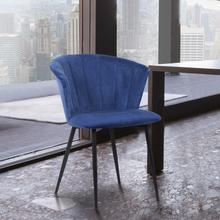 Lulu Contemporary Dining Chair in Black Powder Coated Finish and Blue Velvet