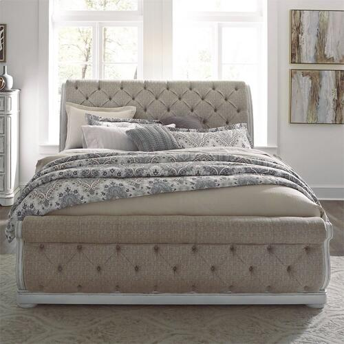 King California Upholstered Sleigh Bed