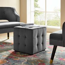 Contour Tufted Button Cube Performance Velvet Ottoman in Gray