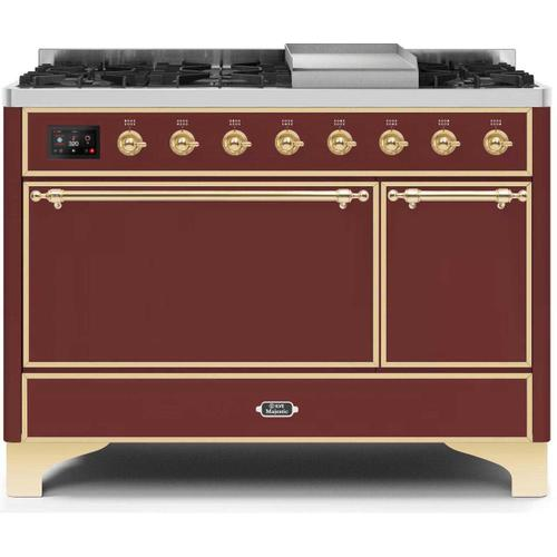 Gallery - Majestic II 48 Inch Dual Fuel Natural Gas Freestanding Range in Burgundy with Brass Trim