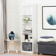 Axess - 5-Shelf Narrow Bookcase, Pure White
