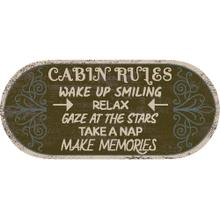 """Cozy Cabin Cabin Rules 20""""x44"""" Oval"""