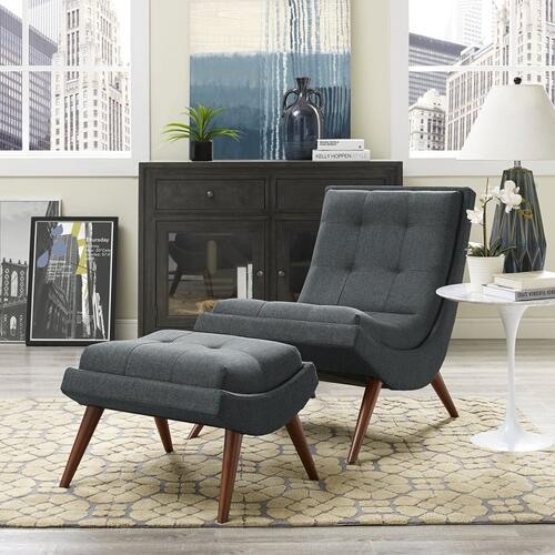 Ramp Upholstered Fabric Lounge Chair Set in Gray