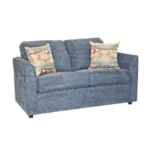 """Capris Furniture - Deluxe seat cushions w/attached fiber filled back pillow Full Sleeper w/ 2-1/2"""" Walnut legs."""