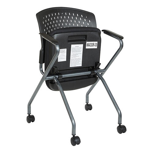 Deluxe Folding Chair With Ventilated Plastic Wrap Around Back