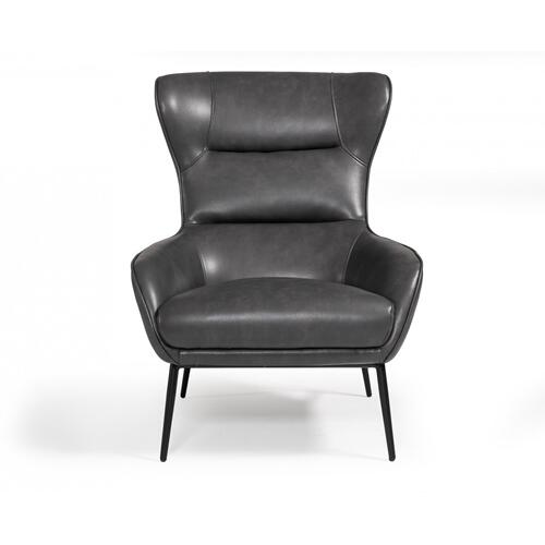 Divani Casa Susan Modern Dark Grey Leatherette Lounge Chair