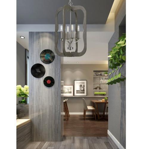 40W X 4 Portici Wood Pendant Fixture (Edison Bulbs Not included)