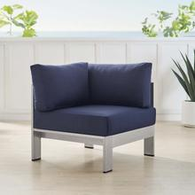 Shore Sunbrella® Fabric Aluminum Outdoor Patio Corner Sofa in Silver Navy