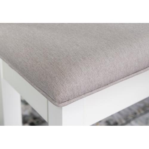 Upholstered Seat and Lift Top Storage Bench, Smokey White
