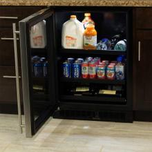 """See Details - 24"""" Beverage Center with Convertible Shelves - Stainless Frame Glass Door - Right Hinge"""