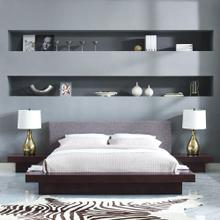 Freja 3 Piece Queen Fabric Bedroom Set in Cappuccino Gray