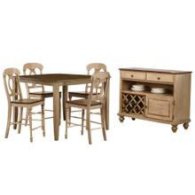 "DLU-BR4848CB-B50-SRPW6PC  6 Piece 48"" Square Pub Set with Napoleon Stools and Server"