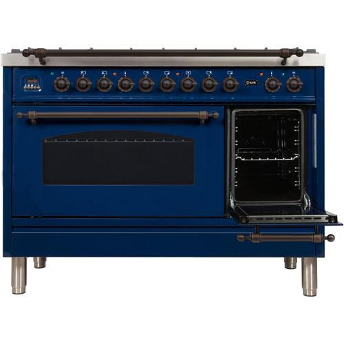 Ilve - Nostalgie 48 Inch Dual Fuel Natural Gas Freestanding Range in Blue with Bronze Trim