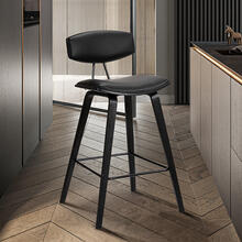 "Fox 28.5"" Mid-Century Bar Height Barstool in Black Faux Leather with Black Brushed Wood"