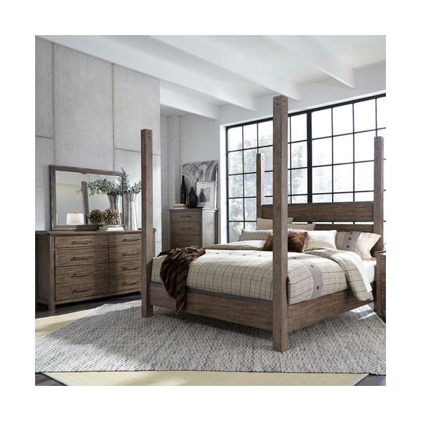 See Details - Queen Poster Bed, Dresser & Mirror, Chest
