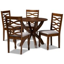See Details - Baxton Studio Aspen Modern and Contemporary Grey Fabric Upholstered and Walnut Brown Finished Wood 5-Piece Dining Set