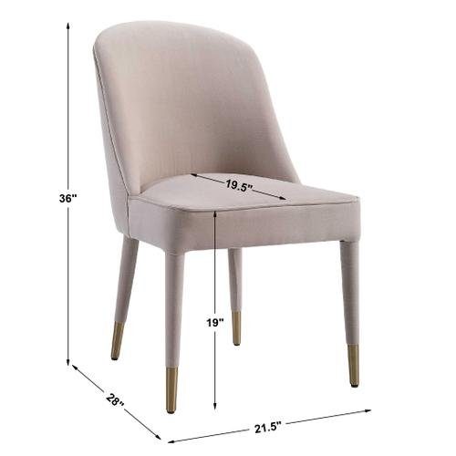 Brie Armless Chair, Champagne, 2 Per Box