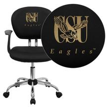 Coppin State University Eagles Embroidered Black Mesh Task Chair with Arms and Chrome Base