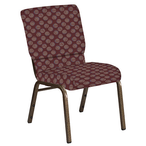Flash Furniture - 18.5''W Church Chair in Cirque Oxblood Fabric - Gold Vein Frame