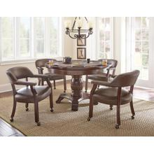 View Product - Tournament 6 Piece Dining/Game Table Set - Brown Chairs(DiningTable, Brown Game Top, & 4 Captain's Chairs)