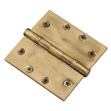 "Functional SQ Ball Bearing Hinge, 4-1/2"" Solid Brass"
