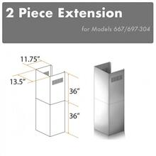 """See Details - ZLINE 2-36"""" Chimney Extensions for 10 ft. to 12 ft. Ceilings (2PCEXT-667/697-304)"""