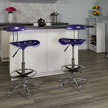 View Product - Vibrant Violet and Chrome Drafting Stool with Tractor Seat