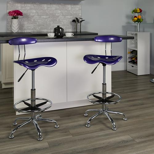 Flash Furniture - Vibrant Violet and Chrome Drafting Stool with Tractor Seat